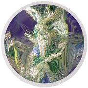 Emerald Elemental Round Beach Towel
