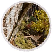 Emerald Falls Zion National Park Round Beach Towel
