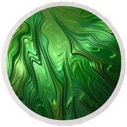 Emerald Flow Round Beach Towel