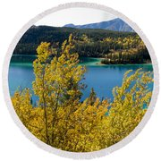 Emerald Lake At Carcross Yukon Territory Canada Round Beach Towel