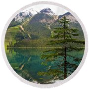 Emerald Lake Reflection And Pine Tree In Yoho National Park-british Columbia-canada Round Beach Towel
