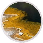 Emerald Pool Yellowstone National Park Round Beach Towel
