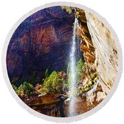 Emerald Pools Trail Waterfall - Zion Round Beach Towel