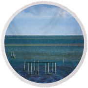 Emerald Seas Round Beach Towel
