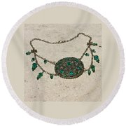 Emerald Vintage New England Glass Works Brooch Necklace 3632 Round Beach Towel