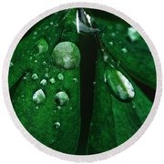 Emerald Rain Round Beach Towel