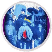 Emiliano Zapata In Group Portrait Xochimilco  Outside Of Mexico City 1914-2013 Round Beach Towel