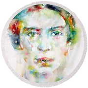 Emily Dickinson - Watercolor Portrait Round Beach Towel