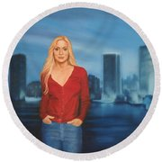 Emily  Miami Skyline Round Beach Towel