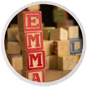 Emma - Alphabet Blocks Round Beach Towel