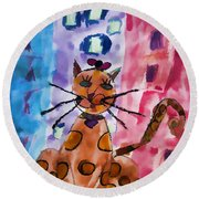 Emma's Spotted Kitty Round Beach Towel
