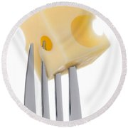 Emmental Cheese On Fork Against White Background Round Beach Towel