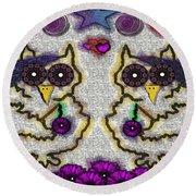 Emo Owls Round Beach Towel