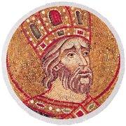 Emperor Constantine I Round Beach Towel