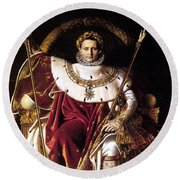Emperor Napoleon I On His Imperial Throne Round Beach Towel
