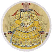 Emperor Qianlong In Old Age Round Beach Towel