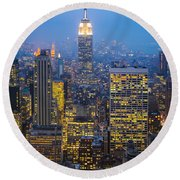 Empire State Building And Midtown Manhattan Round Beach Towel