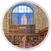 Empire State Building At The New York Public Library Round Beach Towel