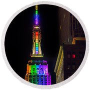 Empire State Building Lit For Gay Pride Round Beach Towel