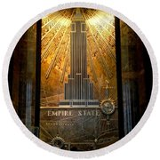 Empire State Building - Magnificent Lobby Round Beach Towel