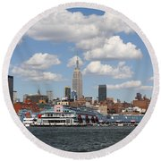 Empire State From The Water Round Beach Towel
