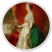 Empress Eugenie Of France 1826-1920 Wife Of Napoleon Bonaparte IIi 1808-73 Oil On Canvas Round Beach Towel