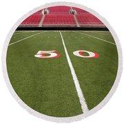 Empty American Football Stadium 50 Yard Line Round Beach Towel