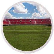 Empty American Football Stadium Round Beach Towel