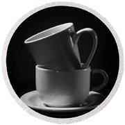 Empty Coffee Cups Round Beach Towel