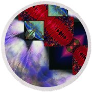 Empty Hearted Sky Round Beach Towel