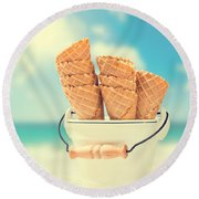 Empty Ice Cream Cones Round Beach Towel