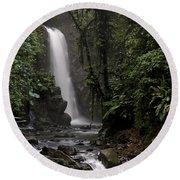 Encantada Waterfall Costa Rica Round Beach Towel