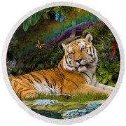 Enchaned Tigress Round Beach Towel