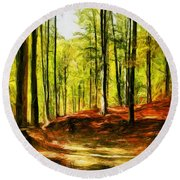 Enchanted Forest - Drawing  Round Beach Towel