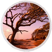 Enchanted Park Bench Round Beach Towel