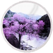 Enchanted Pink Round Beach Towel