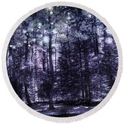 Enchanted Plum Forest Round Beach Towel