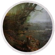 Enchanted River In The Mist Round Beach Towel
