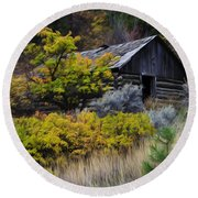 Enchanted Spaces Cabin In The Woods 2 Round Beach Towel
