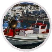 Enchanted Spaces Mykonos Greece 1 Round Beach Towel