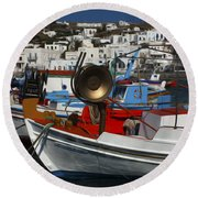 Enchanted Spaces Mykonos Greece 2 Round Beach Towel