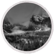 Enchanted Valley In Black And White Round Beach Towel by Bill Gallagher