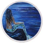 Enchanting Mermaid Round Beach Towel by Leslie Allen