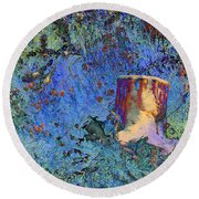 Enchanting Snow Forest Round Beach Towel
