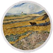 Enclosed Field With Plowman  Round Beach Towel