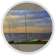 End Of Day At The Bay Round Beach Towel