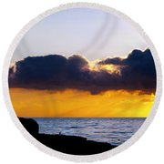 End Of Day On The Pacific Round Beach Towel