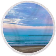 End Of The Blue Hour Round Beach Towel by Steven Santamour