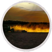 End Of The Day In The Field Round Beach Towel
