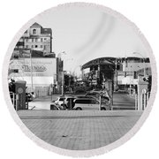 End Of The Line In Black And White Round Beach Towel